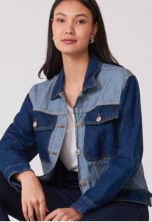 Jaqueta Amaro Jeans Bicolor Azul Escuro - Azul - Feminino - Dafiti