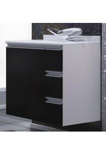 Armário Banheiro Branco/Preto Com Gavetas(Lado Direito) -...