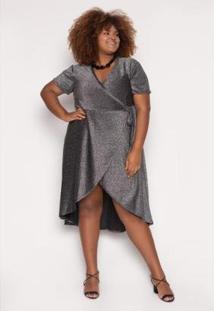 Vestido Almaria Plus Size Alt Brand Wrap Glow Feminino - Feminino-Preto