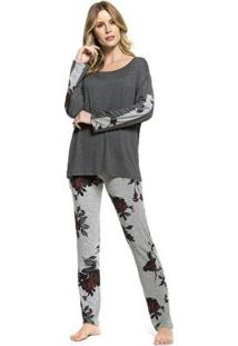 Pijama Inverno Garden Roses Feminino - Feminino-Chumbo