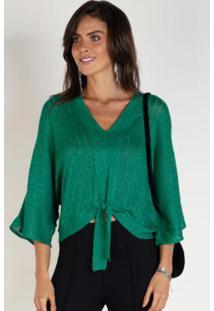 Blusa Em Tricô Verde Com Fios Metalizados