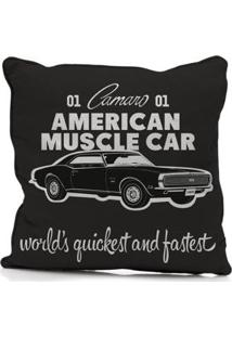 Capa De Almofada Em Poliester American Muscle Car Gm - Unissex-Preto