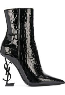 Saint Laurent Ankle Boot Opyum Com Salto 110Mm - Preto