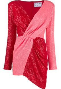 In The Mood For Love Vestido Bicolor Com Aplicações - Vermelho
