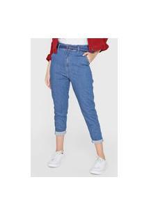 Calça Jeans Sawary Mom Pespontos Azul