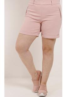 Short De Tecido Plus Size Feminino Rosa