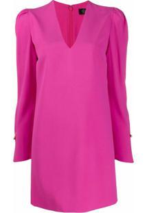 Versace Vestido Com Mangas Bufantes - Rosa