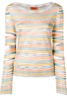 Missoni Multicoloured Stripe Knitted Top - Laranja