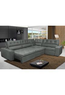 Sofa De Canto Retrátil E Reclinável Com Molas Cama Inbox Austin 3,85X2,64 Ou 2,64X3,85 Suede Velusoft Cinza