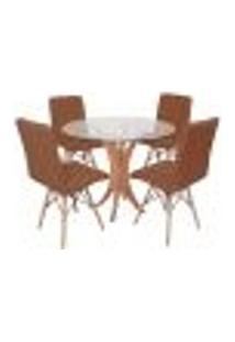 Conjunto Mesa De Jantar Tampo De Vidro 90Cm Com 4 Cadeiras Gomos - Marrom
