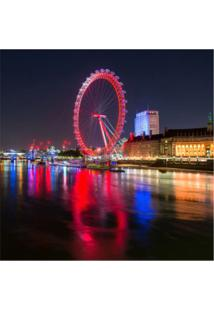 Placa Decorativa London Eye 25X25 Cm Preto