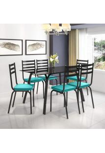 Conjunto Sala De Jantar Mesa Lotus Tampo De Vidro Preto E 6 Cadeiras Artefamol Preto/Azul