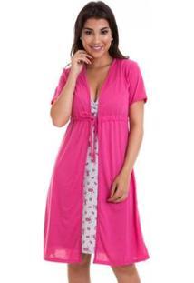 Camisola Luna Cuore Gestante Amamentação Com Robe - Feminino-Cinza+Rosa