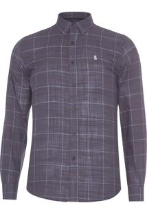 Camisa Masculina Rust Quadros - Cinza