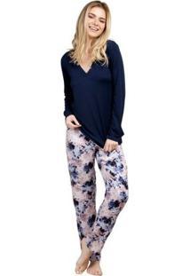 Pijama Longo Inspirate Floral Nuit Feminino - Feminino-Marinho