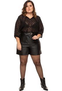 Shorts Linny Plus Size Em Couro Preto - Kanui