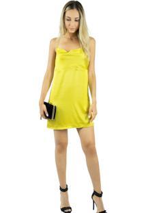 Vestido Liage Curto Liso Alça Cetim Decote Drapeado Amarelo
