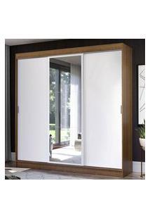 Guarda-Roupa Casal Madesa Istambul 3 Portas De Correr Com Espelho 3 Gavetas - Rustic/Branco Marrom