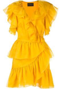 Dundas Vestido Mini Com Babados - Amarelo