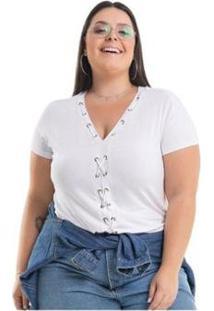 Blusa Miss Masy Plus Size Viscolycra - Feminino-Branco