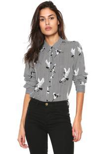 Camisa Facinelli By Mooncity Estampada Preta/Branca