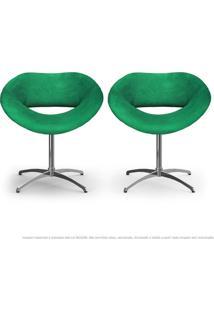 Kit 2 Cadeiras Beijo Verde Poltronas Decorativas Com Base Giratória