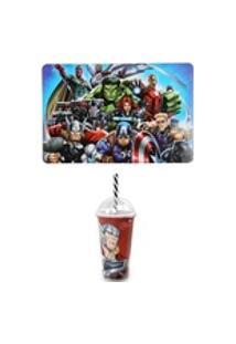 Kit Avengers Vingadores Com Jogo Americano E Copo Shake Thor