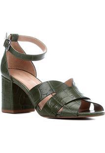 Sandália Couro Shoestock Croco Salto Bloco Médio Feminina - Feminino-Verde