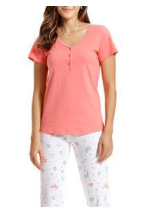 Pijama Capri Manga Curta Paulienne (C.098.61.P) 100% Algodão