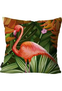 Capa Para Almofada Premium Peluciada Mdecore Flamingo Colorido 45X45Cm Verde