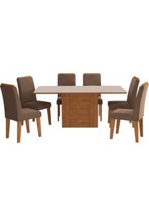 Conjunto De 6 Cadeiras Para Sala De Jantar 180X90 C/ Moldura Rafaela/Milena-Cimol - Savana / Off White / Chocolate