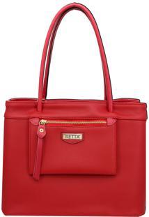 Bolsa De Ombro Grande Com Bolso Moderno Retta Shoes Vermelha