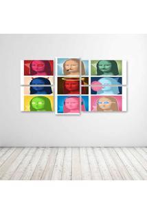 Quadro Decorativo - Monalisa Pop - Composto De 5 Quadros