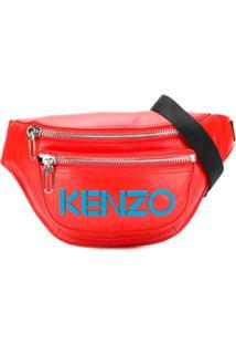 Kenzo Pochete Com Logo E Costura Aparente - Vermelho