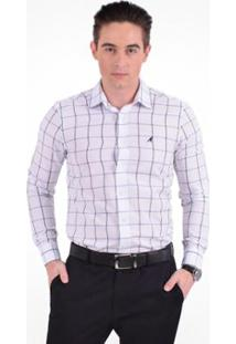 Camisa Xadrez Masculina Slim Social - Masculino-Branco