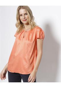 Blusa Lisa Com Pregas & Recortes - Laranja - Vip Resvip Reserva