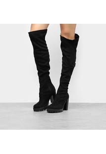 Bota Over The Knee Moleca Tratorada Feminina - Feminino-Preto