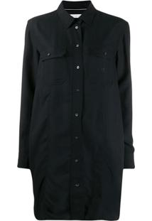 Calvin Klein Jeans Curved Hem Boxy Fit Shirt Dress - Preto