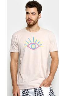 Camiseta Colcci Estampada I Can See You Masculina - Masculino-Bege