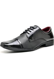 Sapato Social Verniz Zaffiori Com Cadarço Masculino - Masculino-Preto