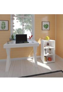 Escritório Completo Com Escrivaninha 1 Gaveta E Estante 2 Prateleiras Stig Siena Móveis Branco