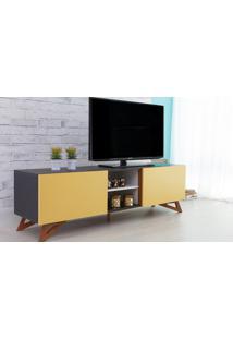 Rack De Tv Preto Moderno Vintage Retrô Com 2 Portas Amarela Freddie - 160X43,6X48,5 Cm