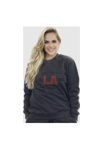 Blusa Moletom Feminino Moleton Básico Suffix Cinza Escuro Estampa California Los Angeles College