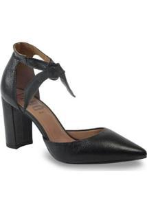 Sapato Scarpin Parô 1.187A Com Amarração Feminino - Feminino-Preto