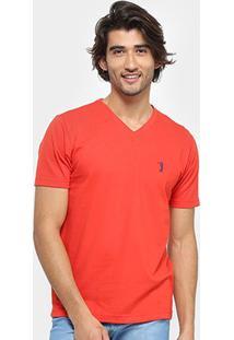 Camiseta Aleatory Bordado Masculina - Masculino-Vermelho