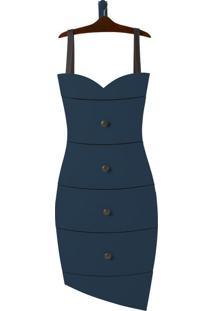 Cômoda Suspensa 4 Gavetas Dress 1081 Cacau/Azul Noite - Maxima