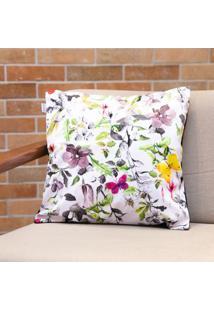 Capa De Almofada Suede Floral 45X45Cm Combinatta