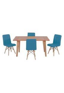 Conjunto Mesa De Jantar Em Madeira 150X80 Vértice + 4 Cadeiras Gomos - Turquesa