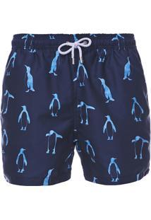 Short Barche Pinguins Azul Marinho