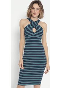 Vestido Listrado Canelado- Azul Escuro & Branco- Cotcotton Colors Extra